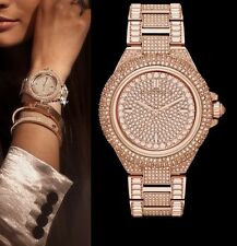 MICHAEL KORS CAMILLE ROSE GOLD TONE PAVE,GLITZ,CRYSTAL CHAIN LINK WATCH-MK5862