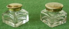 ANTIQUE INKWELLS GLASS & BRASS TRAVEL INKWELL FOR WRITING SLOPE BOX circa 1880