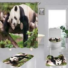 Cute Wild Panda Shower Curtain Bath Mat Toilet Cover Rug Bathroom Decor