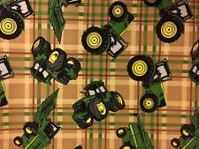 John Deere Tractor on Plaid Tan premium 100% Cotton fabric by the yard