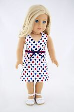 4th of July Summer Dress Dots, American Made Doll Clothes For 18 Inch Girl Dolls