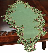 Xia Home Fashions Holiday Holly Embroidered Cutwork Christmas Table Runner, 16