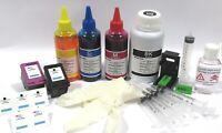 kit  cartucce hp 302 rigenerata + inchiostro nero e colore 550 ml + refill clip