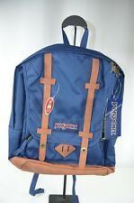 Brand New Jansport Cortlandt Navy Blue Backpack Suede Accents