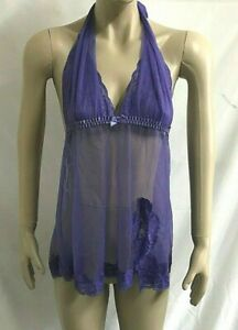 FREDERICK'S OF HOLLYWOOD Sheer Purple Mesh & Lace Halter Babydoll ~ Size Small