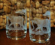2 sehr schöne Trinkgläser mit Elefanten Safari Echt HANDGESCHLIFFEN