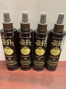 FOUR(4) Sun Bum Premium Sunscreen Tanning Oil SPF 15 UVA/UVB Protection 8.5 oz