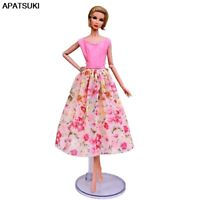 Pink Floral Countryside Fashion Doll Dress For Barbie Doll Clothes 1/6 Outfits