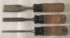 "Vintage Craftsman 3 Pc Wood Chisel 1/4"", 1/2' & 1"", U.S.A."