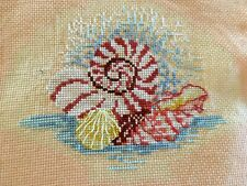 Ocean Seashell Cross Stitch Completed w/ Scallop Mat
