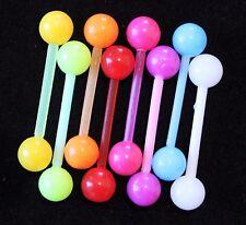 GLOW IN THE DARK Fluro Acrylic Flexi Bar Tongue Nipple Barbell 16mm 14g 6mm Ball