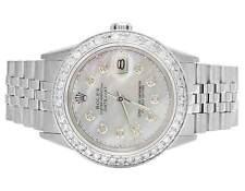 Rolex Datejust Quickset 16014 Oyster 36MM White MOP Dial Diamond Watch 2.5 Ct