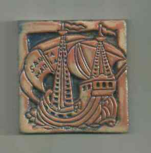 Antique Mercer Moravian Santa Maria ship tile