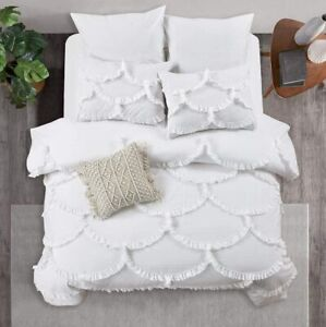 Cotton Duvet Cover Set Queen White, Ruffle, Quilt Cover, Comforter Cover, New