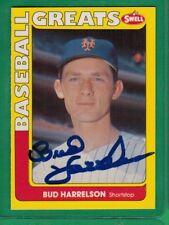 1990 SWELL BASEBALL GREATS BUD HARRELSON SIGNED AUTOGRAPH AUTO METS