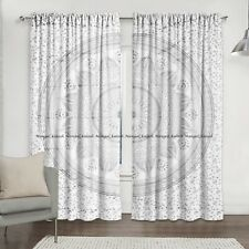 Silver Indian Valance Ombre Mandala Home Drapes Door Curtain Window Hanging Set