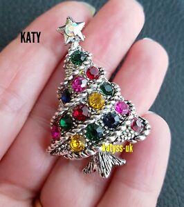 Vintage Look Christmas Tree Green  Diamante Silver Tone BROOCH Pin Crystal Gift