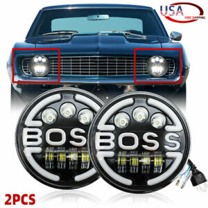 "Pair Black 7"" Round LED Headlights Hi/Low Beam Sealed for Chevy Camaro 1967-1981"