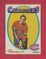 1971-72 TOPPS  # 130 CANADIENS JC TREMBLAY GOOD CARD