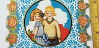 Vtg VALENTINES CARDS Die Cut CUTE BOY & GIRL COUPLE Unused GOLD ROSES Whitney A1