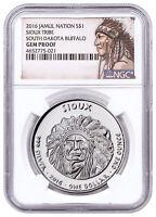 2016 Native Silver Dollar SD Sioux - Buffalo 1 oz Silver NGC Gem Proof SKU52734
