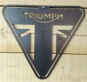 Premium Triumph Motor Cycle Bike Metal Wall Sign Raw Steel Hand Finished Vintage