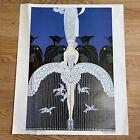 """Vtg. Erte HER SECRET ADMIRERS Print Unframed Art Deco Lady 21"""" X 17"""""""