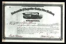 1886 Henry Flagler signs RARE Jacksonville St Augustine Railroad Stock signature