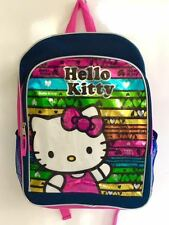 Backpack Hello Kitty Colorful Rainbow Hues Sparkle Pink Navy Girls 16 inch Gift
