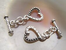2 Bali Sterling Silver Fancy Heart Toggle Clasps #875