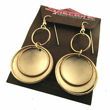 Spectore Silver Titanium Gold Fill Dangle Earrings Round Disk Open Ring Disc GF
