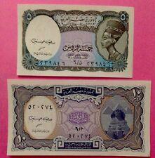 2 EGYPT Paper Money 5 & 10 Piastres UNC