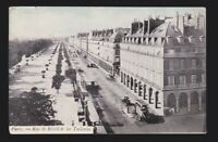Rue de Rivoli et les Tuileries vehicles horse & buggy Paris FRANCE old Post Card