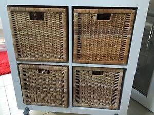 FOUR Ikea Branas Wicker/ natural Baskets in good condition. kallax cube storage