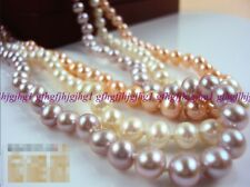 Hot 7-8mm White Pink Purple Cultured Fresh Water Akoya Pearl Necklace 18''