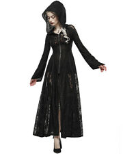 Punk Rave Womens Long Gothic Hooded Cloak Jacket Dress Black Shredded Lace Witch