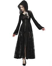 Punk Rave Mujer Largo Gótico Capa con Capucha Chaqueta Vestido Negro Rallado