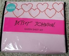 Betsey Johnson Heartful Embroidered Hearts Pink Queen Sheet Set