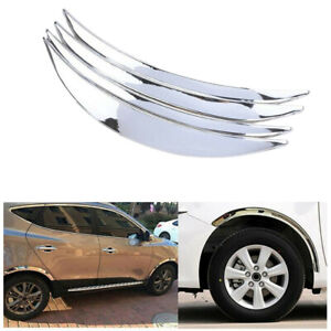 4x 3D Chrome Car Wheel Eyebrow Stickers Bumper Fender Flares Protector Universal