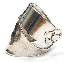 Solid 835 silver vintage Dutch mustard spoon ring SIZES Q R S T Holland