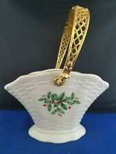 "Lenox ""Holiday Basket� 7.5x5x4.75"" Trimmed In Gold With Gold Handle 9""H"