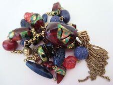 LAILA ROWE Designer Acrylic Y-Chain Tassel Necklace Faux Venetian Lampwork Beads