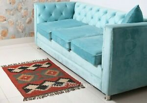 Hand Woven Kilim Carpet 2x3 Living Room Floor Rug Vintage Jute Wool Mat Carpet
