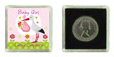 LUCKY Argento Massiccio Coin NEW Baby Girl Ricordo Regalo Baby Shower