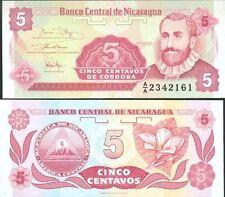 NICARAGUA billet neuf de 5 CENTAVOS Pick168 F.H. CORDOBA petit format 1991
