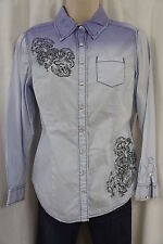 Style & co. Petite Top Sz 10P Light Faded Blue Long Sleeve Casual Collared Shirt