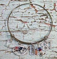 New England Patriots Bangle Charm Bracelet Brady 12 Gronk 87 Edelman 11 Jewelry