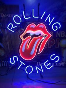 "New Rolling Stones Music Beer Bar Lamp Neon Light Sign 19"" HD Vivid Printing"