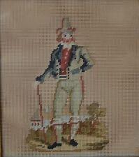 Antiguo 19th Century Old Costura foto de un período Sombrero hombre con un palo