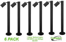 6 x BLACK 1 Metre DIY Garden Adjustable Bollard Light 12V MR16 Low Voltage